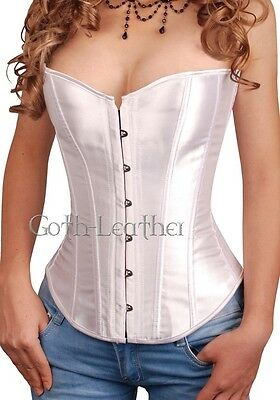White Romantic Satin Wedding CORSET With G-String S-6X A074