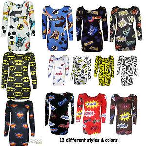 New-Womens-Full-Sleeve-Batman-Print-Bodycon-Tunic-Ladies-Dress-Long-Top-8-14
