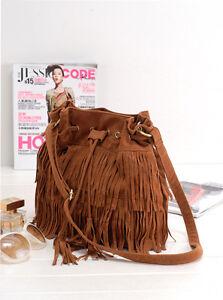 0e08ab18b0 HOT Faux Suede Fringe Tassel Shoulder Bag Womens Handbags Messenger ...