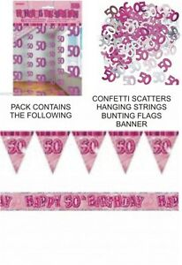 Image Is Loading 50th BIRTHDAY PARTY DECORATIONS PACK PINK BANNER FLAGS