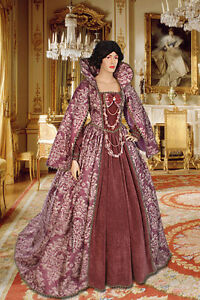 Noblewoman-039-s-Renaissance-Style-Dress-Handmade-from-Antique-Velvet-and-Brocade