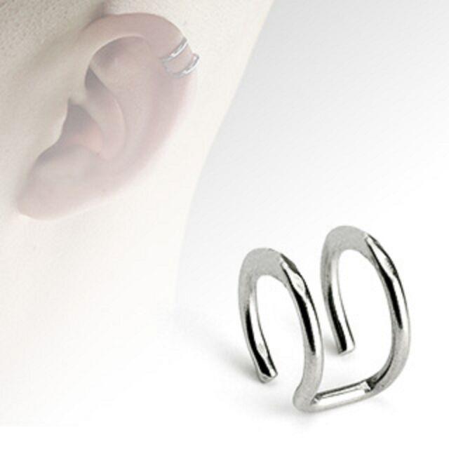 316L Surgical Steel Non Piercing Fake Cartilage Clip Dbl Closure Ring Ear Cuff
