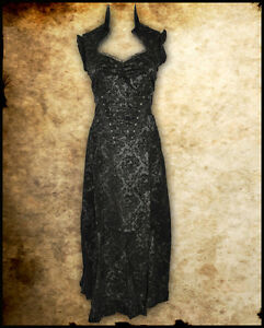 LONG-BLACK-STEAMPUNK-VICTORIAN-GOTHIC-DAMASK-SKULL-NEW-CORSET-DRESS-BURLESQUE