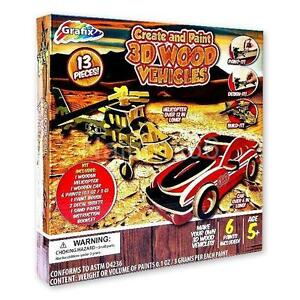New-Create-amp-Paint-3D-Wood-Helicopter-amp-Car-Vehicles-Kids-Craft-Kit-Ages-5
