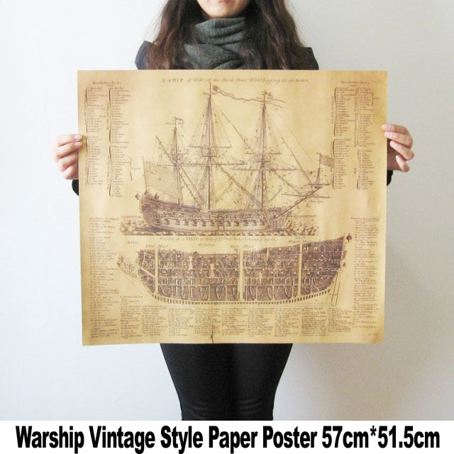 Large Vintage Style Retro Paper Warship Structure Map Poster 20 x 22 inch Gifts