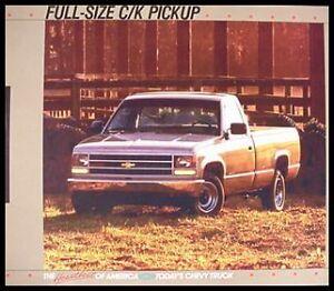 1988 Chevy Chevrolet Pickup Truck C K Brochure Ebay