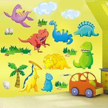 Boys Childrens Bedroom Nursery Dinosaur Dino Wall Stickers Decals