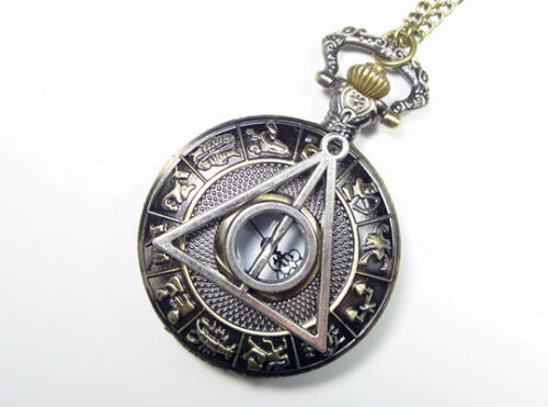 Harry potter Deathly Hallows Pocket Watch Necklace,Zodiac Pocket Watch Necklace