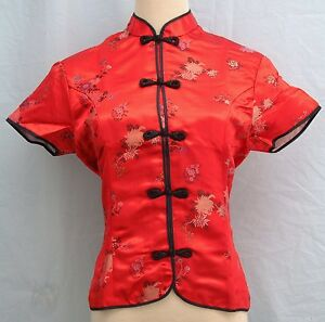 Traditional-Chinese-Style-Brocade-Blouse-Cap-Sleeves-Floral-Dragon-Pattern