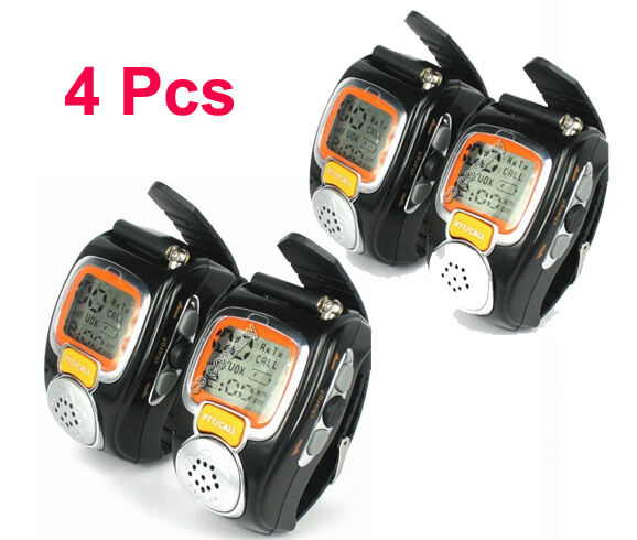 4pcs 2-Way Freetalker Walkie Talkie Radio Digital Wrist Watch Voice Communicator