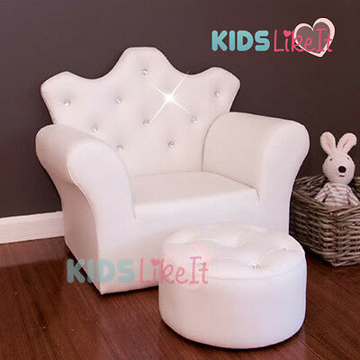 NEW* White Ivory GIRLS PVC Leather / CRYSTAL Little PRINCESS SOFA w/ FOOTSTOOL
