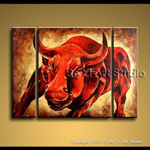 Wall Street Bull Art large wall street bull statue fierce red modern oil painting art 3