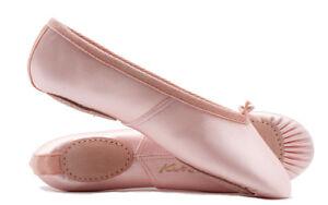 Ladies-amp-Girls-Pink-Satin-Split-Sole-Ballet-Shoes-All-Sizes-By-Katz-Dancewear