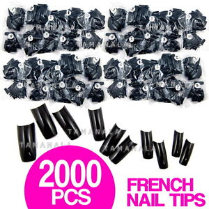 2000-Pcs-French-Half-FALSE-ACRYLIC-Gel-NAIL-ART-TIPS-Salon-Tool-BLACK-Color
