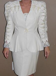 Vintage-Womens-Wedding-Dress-Mother-the-Bride-Leather-Pearl-Lace-Country-Ivory
