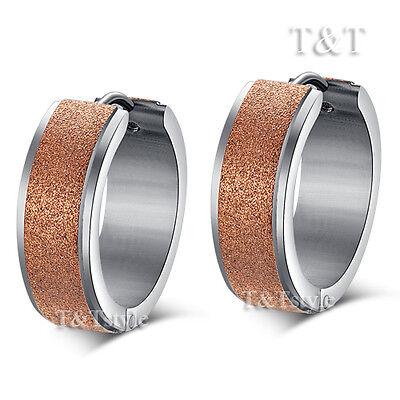 T&T 9K Rose Gold GP Stainless Steel Thick Hoop Earrings (EX37)