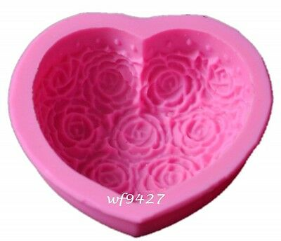 Thick Silicone ROSE Flower HEART Soap Candle Cake Chocolate Mold Mould xj176