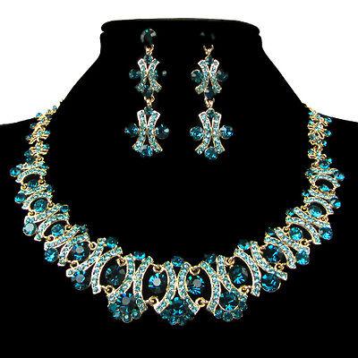 Charming Prom Wedding Bridal Jewelry Crystal Rhinestone Earring Necklace Set NEW