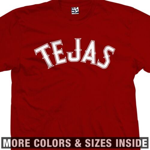 Tejas Ranger T-Shirt Baseball Style Font Letters TX Texas All Sizes /& Colors