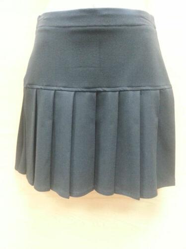 GIRLS SCHOOL DROP WAIST HAND PLEATED SOFT FABRIC SKIRT UNIFORM BLACK NAVY GREY