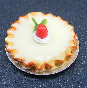 1-12-Scale-Cherry-Bakewell-Tart-Dolls-House-Miniature-D4-Food-Cakes-Accessories