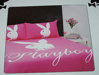 Playboy Bunny Pink Reversible Double Bed Quilt Cover Set New