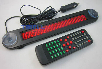 12V Car Red LED Programmable Message Sign Scrolling Display Board with remote