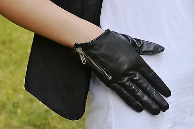 fashion lady's Cool side zipper style soft real leather gloves*black