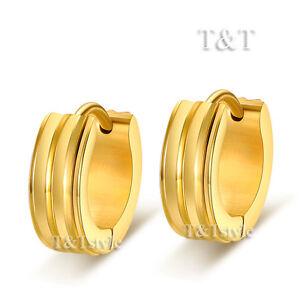 T-T-14K-Gold-GP-Stainless-Steel-Hoop-Earrings-5mm-Wide-EG47