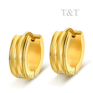 T-amp-T-14K-Gold-GP-Stainless-Steel-Hoop-Earrings-5mm-Wide-EG47