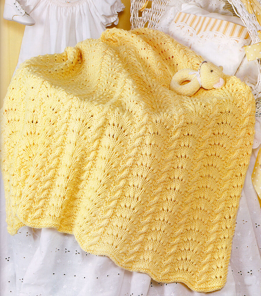 Cables And Crowns Pattern Aran Baby Blanket 37 Quot X 48