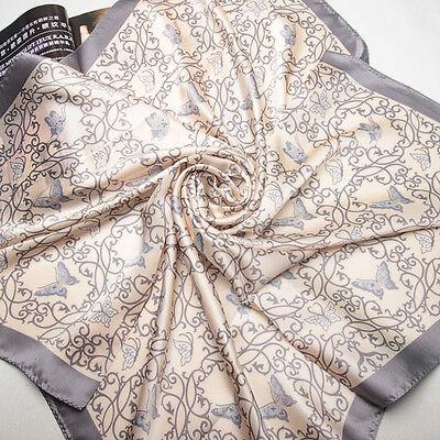 "35""Square 100% Silk Crepe satin Scarf Women Shawl Large ladies Wrap gray 203-038"