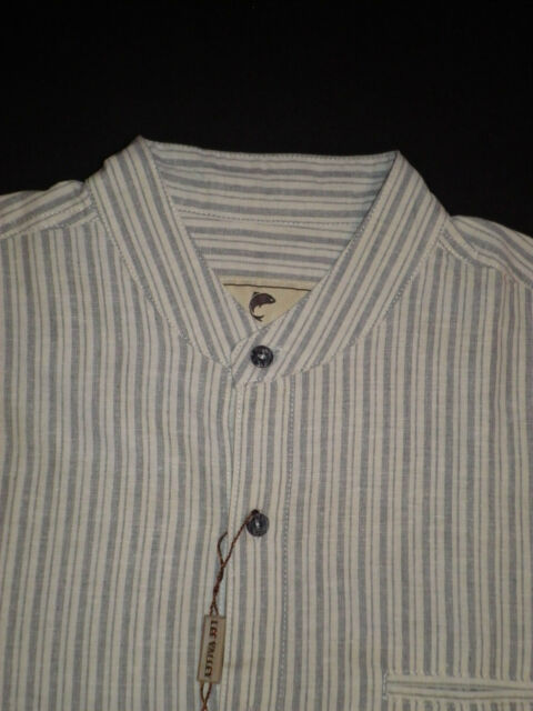 New Lee Valley gray striped Irish grandfather shirt linen cotton blend S Small
