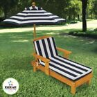 Kidkraft Outdoor Chaise With Umbrella In Navy Stripe Fabric (D562577A)