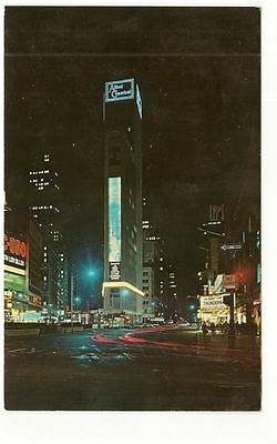NYC NY Allied Chemical Tower Night View Vtg Postcard