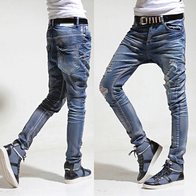 K-Pop Style Mens Ladies Pearl Coated Blue Denim Baggy Skinny Jeans Pants 28~34