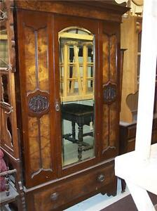 Early-1900-039-s-Carved-Walnut-Wardrobe-Armoire-DR58