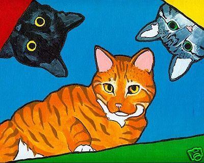 BLACK GRAY ORANGE CAT Pop Art PRINT of Painting by Vern