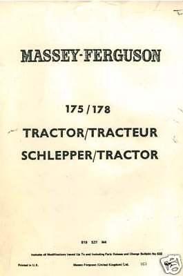 MASSEY FERGUSON TRACTOR MF175 MF178 PARTS MANUAL 175