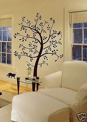 BIG TREE CAT & BIRD Wall Decal Deco Art Sticker Mural - COLOR: BROWN