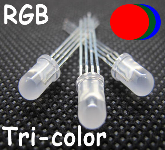 50 pcs 5mm 4pin Tri-Color Diffused RGB Common Anode Red Green Blue LED
