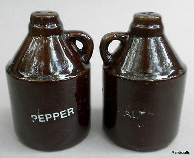 Salt & Pepper Shaker Moonshine Little Brown Jugs Pottery Vintage