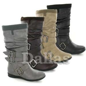 Ladies-Womens-Faux-Leather-Mid-Calf-Block-Heel-Biker-Riding-Winter-Boots-Shoes