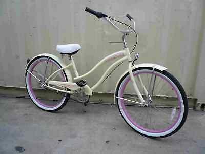 "Micargi 26"" 3 SPEED beach cruiser bicycle bike Rover Lady Vanilla"