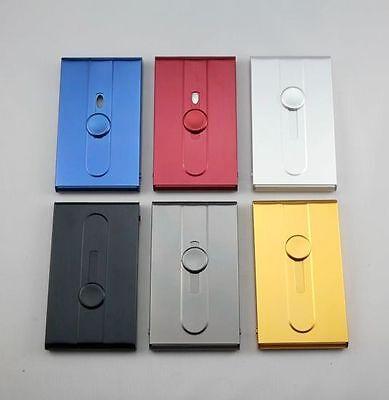 Smooth Aluminum Slide Name Business ID Credit Card Case Holder Pocket Six-Color