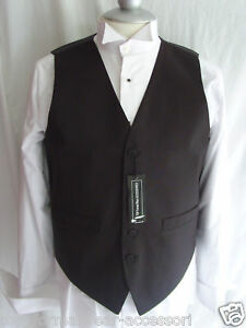 Mens-Waiters-Wedding-BLACK-Waistcoat-To-Fit-44-110cm-Chest-P-P-2UK-1st-Class