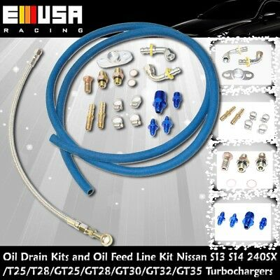 T25 T28 Complete Bolt On Water Oil Feed Drain Line Kits