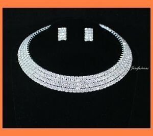 4-ROW-CLEAR-AUSTRIAN-RHINESTONE-CHOKER-NECKLACE-EARRINGS-SET-PARTY-WEDDING-N0580