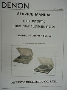 DENON-DP-35F-and-DP-45F-TURNTABLE-SERVICE-MANUAL-19-Pages