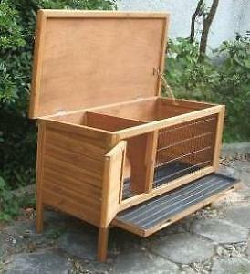Quality Wooden Rabbit Hutch - hinged roof & tray 1.15 m